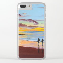 Romantic painting, couple at the beach Clear iPhone Case