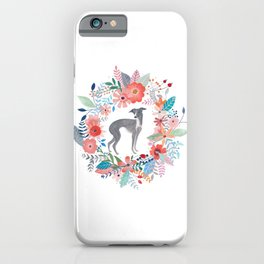 Italian Greyhound And Flowers iPhone Case