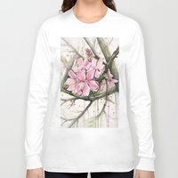 cherry blossom Long Sleeve T-shirts featuring Cherry Blossom by Olechka