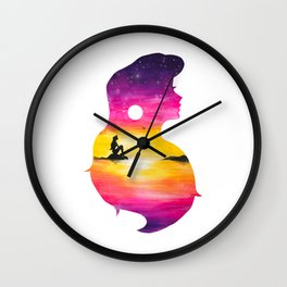 Ariel Sunset Double Exposure The little Mermaid Wall Clock