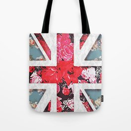 God save the Queen | Elegant girly red floral & lace Union Jack Tote Bag