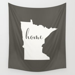 Minnesota is Home - White on Charcoal Wall Tapestry