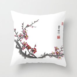 Plum Blossom One Throw Pillow
