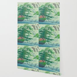 Kawase Hasui, Waterfall, Japanese Woodblock Print Ukiyo-e, Shin-hanga, Landscape Wallpaper