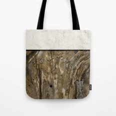 Cream Cement and Gnarled Wood Patterns Tote Bag