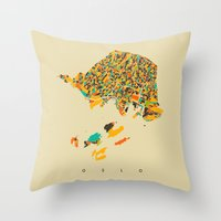 oslo Throw Pillows featuring Oslo  by Nicksman