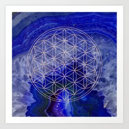 indigo agate with rose gold flower of life Art Print