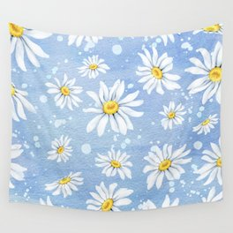 Spring Daisies On Sky Blue Watercolour Wall Tapestry