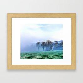 Misty Meadow Landscape Airbrush Artwork Framed Art Print