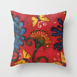 Batik butterflies and flowers on red Throw Pillow
