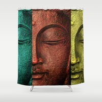 buddha Shower Curtains featuring buddha by mark ashkenazi