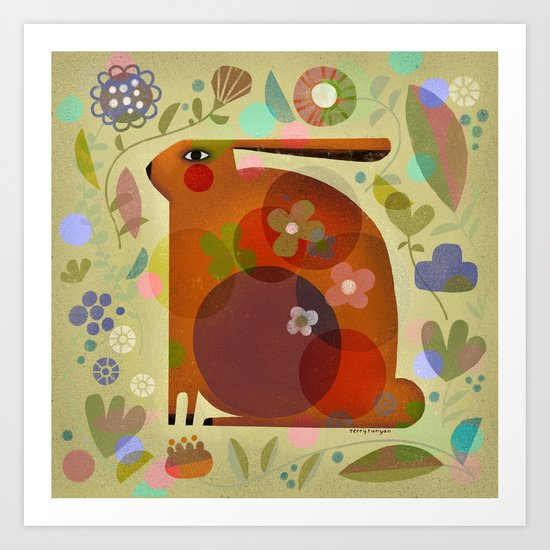 ORANGE BUNNY Art Print