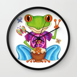 Peace Frog - Colorful Hippie Frog Art by Thaneeya McArdle Wall Clock