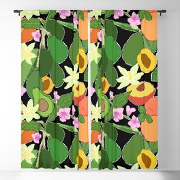 Avocado + Peach Stone Fruit Floral in Black Blackout Curtain
