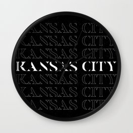 Kansas City Minimalist Dark typography linear design Wall Clock