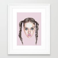 manga Framed Art Prints featuring Miss Manga by Michaela Ramstedt