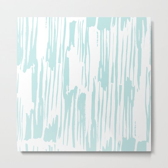 Bamboo Stripe White on Succulent Blue Metal Print