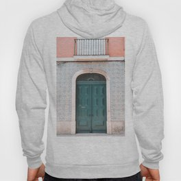 Green Door with Tiles and Pink Wall in Lisbon, Portugal   Travel Photography   Hoody