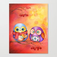 Fall Colors Owls and Pumpkin Pie Canvas Print
