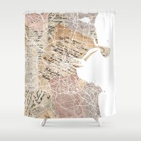 dublin Shower Curtains featuring Dublin map by Mapsland