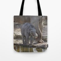 baby elephant Tote Bags featuring Elephant Baby by MehrFarbeimLeben