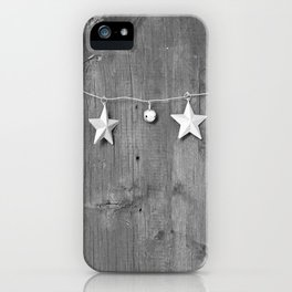 Stars on Wood (Black and White) iPhone Case