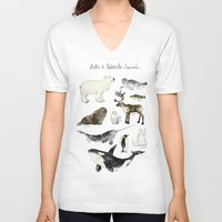 animals V-neck T-shirts featuring Arctic & Antarctic Animals by Amy Hamilton