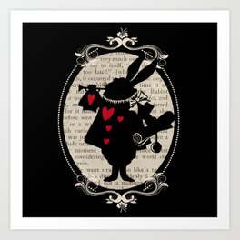 Alice In Wonderland White Rabbit Vintage Book Art Print