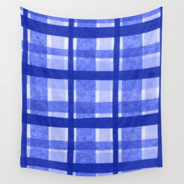 Tissue Paper Plaid - Blue Wall Tapestry