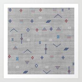 Cactus Silk Pattern in Grey Art Print