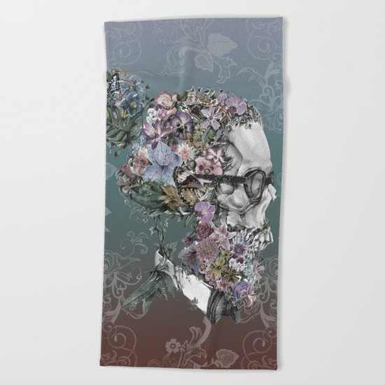 hipster floral skull 3 Beach Towel