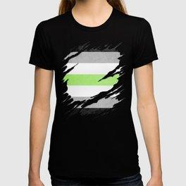 Agender Pride Flag Ripped Reveal T-shirt