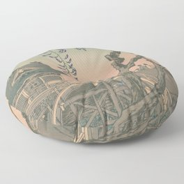 a Bridge and a House. Ukiyoe Landscape Floor Pillow