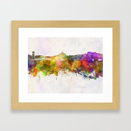 Coimbra skyline in watercolor background Framed Art Print