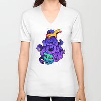 medusa V-neck T-shirts featuring medusa by Ginseng&Honey
