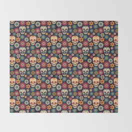 Day Of The Dead Pattern | Dia De Los Muertos Skull Throw Blanket