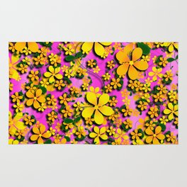 Orange & Yellow Flowers on Pink Background Rug