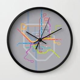 Simplified Columbus Transit Map Wall Clock