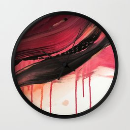 Entangled [3]: a vibrant, colorful abstract mixed-media piece in reds, pinks, black and white Wall Clock