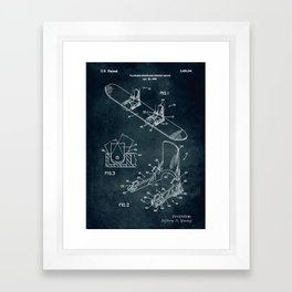 1995 - Plateless snowboard binding device patent art Framed Art Print