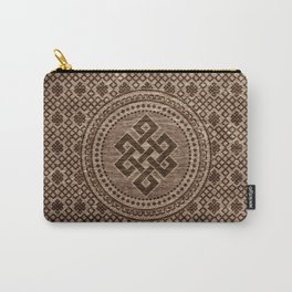 Endless Knot Decorative on Wooden Surface Carry-All Pouch