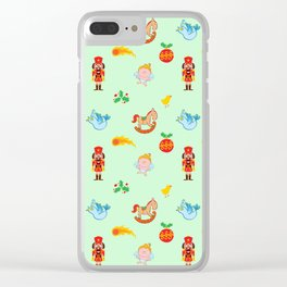Nutcracker, rocking horse, angel and bird Christmas pattern Clear iPhone Case