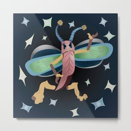 Starry Cricket Red Metal Print