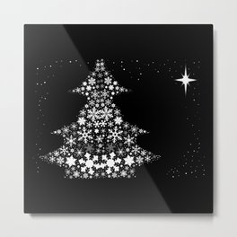 Snowflake Christmas Tree Metal Print