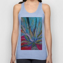 TROPICAL TURQUOISE BLUE AGAVE CACTI FUCHSIA  PATTERN Unisex Tank Top