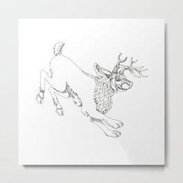 Jackalope Hopping Doodle Art Metal Print