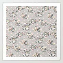 Vintage chic artistic pink ivory polka dots floral Art Print
