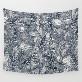 forest floor indigo ivory Wall Tapestry