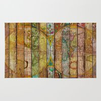 maps Area & Throw Rugs featuring Around the World in Thirteen Maps by Diego Tirigall