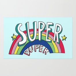 Super Duper Hand Drawn Seventies Style Rainbow Graphic Rug